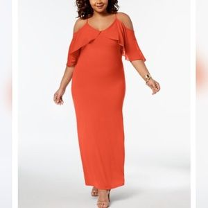 NWT NY Collection Coral Off Shoulder Dress 2XP